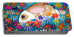 Bunny And Flowers Portable Battery Charger