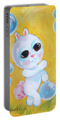 Bunny And The Bubbles Painting For Children Portable Battery Charger by Shelley Overton