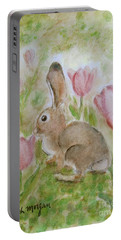 Bunny In The Tulips Portable Battery Charger