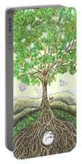 Portable Battery Charger featuring the painting Bunny Nap In Tree Roots by Lise Winne