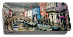 Burano In The Rain Portable Battery Charger
