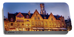 Burg Square Architecture At Night - Bruges Portable Battery Charger