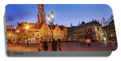 Burg Square At Night - Bruges Portable Battery Charger