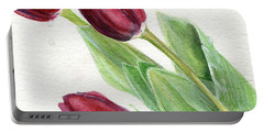 Burgundy Tulips Portable Battery Charger