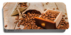 Burlap Bag Of Coffee Beans And Drawer Portable Battery Charger