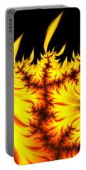 Portable Battery Charger featuring the digital art Burning Fractal Flames Warm Yellow And Orange by Matthias Hauser