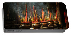 Burning Incense Portable Battery Charger by Lucinda Walter