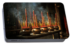 Portable Battery Charger featuring the photograph Burning Incense by Lucinda Walter