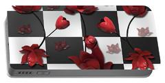 Burnt Crimson Flora Portable Battery Charger