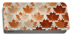 Portable Battery Charger featuring the digital art Burnt Sienna Autumn Leaves by Methune Hively