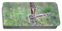 Burrowing Owl Spies Grasshopper Portable Battery Charger