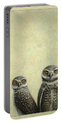 Burrowing Owls Portable Battery Charger by James W Johnson