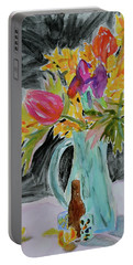 Portable Battery Charger featuring the painting Bursting Bouquet by Beverley Harper Tinsley