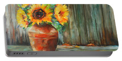Portable Battery Charger featuring the painting Bursts Of Sunshine by Wendy Ray