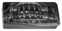 Busch Stadium St Louis Black And White  Portable Battery Charger