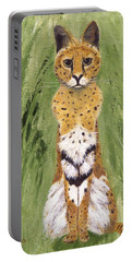 Portable Battery Charger featuring the painting Bush Cat by Jamie Frier
