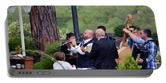 Portable Battery Charger featuring the photograph Busker Band In Ravello - Take Three by Harvey Barrison