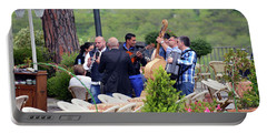 Portable Battery Charger featuring the photograph Busker Band In Ravello - Take Two by Harvey Barrison