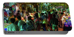 Portable Battery Charger featuring the photograph Busy Chennai India Flower Market by Mike Reid