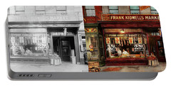 Portable Battery Charger featuring the photograph Butcher - Meat Priced Right 1916 - Side By Side by Mike Savad