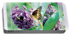 Portable Battery Charger featuring the photograph Butterflies In The Field by Shirley Moravec