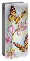 Butterflies And Apple Blossoms Portable Battery Charger by Inese Poga