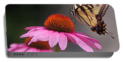 Butterfly And Coneflower Portable Battery Charger by Byron Varvarigos