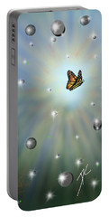 Portable Battery Charger featuring the digital art Butterfly Bubbles by Darren Cannell