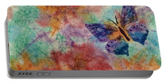 Portable Battery Charger featuring the painting Butterfly Garden Batik Abstract  by Ellen Levinson