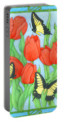 Butterfly Idyll-tulips Portable Battery Charger