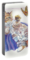 Portable Battery Charger featuring the drawing Butterfly Kitten by Sherry Shipley