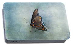 Portable Battery Charger featuring the photograph Butterfly On Blue by Sandy Keeton