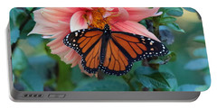 Butterfly On Dahlia Portable Battery Charger