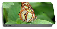Butterfly On Leaf Portable Battery Charger by Meta Gatschenberger
