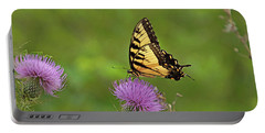 Portable Battery Charger featuring the photograph Butterfly On Thistle by Sandy Keeton