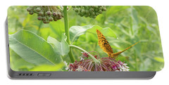 Butterfly On Wild Flowers Portable Battery Charger