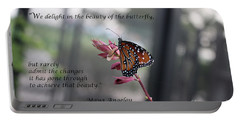 Butterfly Quote Art Print Portable Battery Charger