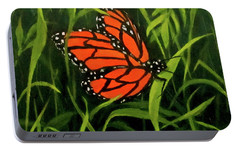 Portable Battery Charger featuring the painting Butterfly by Roseann Gilmore