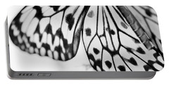 Butterfly Wings 3 - Black And White Portable Battery Charger