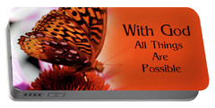 Butterfly With God Inspirational Portable Battery Charger