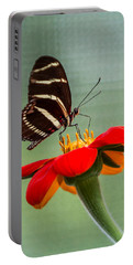 Butterfly Zebra Longwing On Zinnia Portable Battery Charger