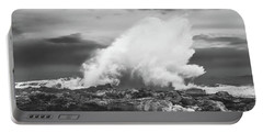 Bw Huge Wave Crashing On Tsitsikamma National Park South Africa Portable Battery Charger