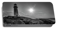 Bw Of Iconic Lighthouse At Peggys Cove  Portable Battery Charger