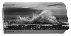 Bw Waves Crashing On Tsitsikamma South Africa With Clouds Portable Battery Charger