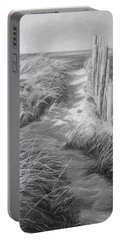 By The Sea - Black And White Portable Battery Charger