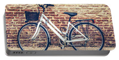 Bycicle Urban Canvas Red Brick Wall Prints Portable Battery Charger