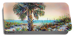 Cabbage Palm On Siesta Key Beach Portable Battery Charger by Lou Ann Bagnall