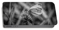 Portable Battery Charger featuring the photograph Cabbage White In Gray by Ray Congrove