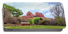 Portable Battery Charger featuring the photograph Cabin At Cathedral Rock Panorama by James Eddy
