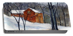 Cabin In The Woods Portable Battery Charger by Debbie Lewis